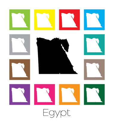 multicoloured: Multicoloured Map of the country of  Egypt Stock Photo