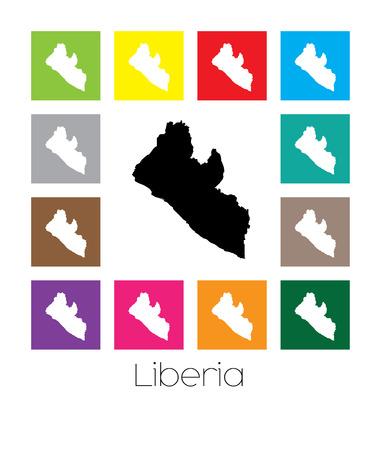multicoloured: Multicoloured Map of the country of  Liberia