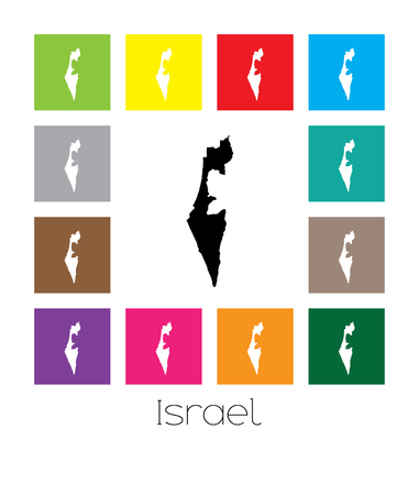 multicoloured: Multicoloured Map of the country of  Israel