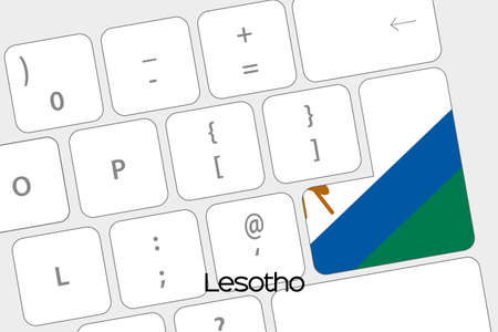 lesotho: Illustration of a Keyboard with the Enter button being the Flag of Lesotho Stock Photo