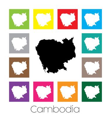 multicoloured: Multicoloured Map of the country of  Cambodia Stock Photo