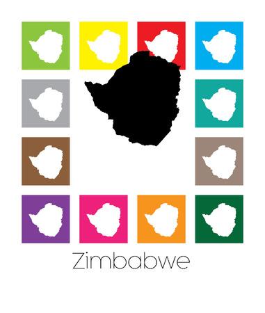 zimbabwe: Multicolor Mapa del país de Zimbabwe