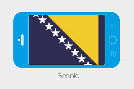 bosnia: Mobile Phone Illustration with the Flag of Bosnia