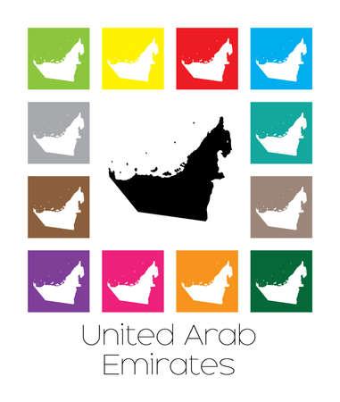 emirates: Multicoloured Map of the country of  United Arab Emirates