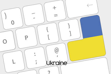 emblem of ukraine: Illustration of a Keyboard with the Enter button being the Flag of Ukraine Stock Photo