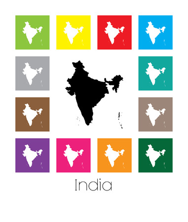 multicoloured: Multicoloured Map of the country of  India