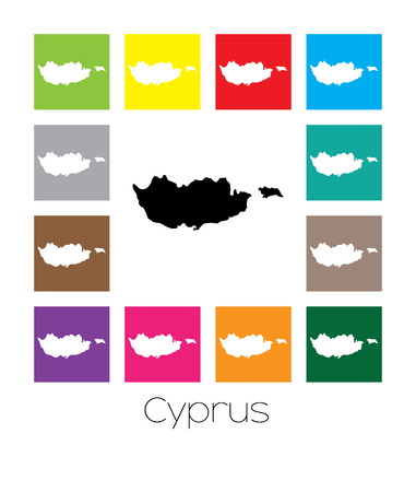 multicoloured: Multicoloured Map of the country of  Cyprus
