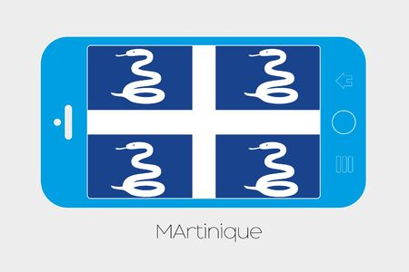 martinique: Mobile Phone Illustration with the Flag of Martinique Stock Photo