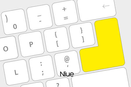 niue: Illustration of a Keyboard with the Enter button being the Flag of Niue