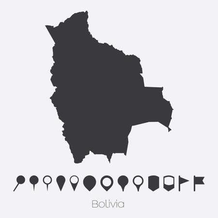 mapa de bolivia: Un mapa con punteros del país de Bolivia Foto de archivo