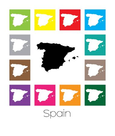 multicoloured: Multicoloured Map of the country of  Spain