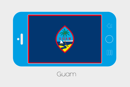 guam: Mobile Phone Illustration with the Flag of Guam