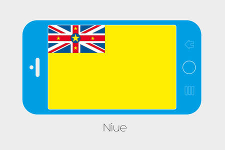 niue: Mobile Phone Illustration with the Flag of Niue Stock Photo