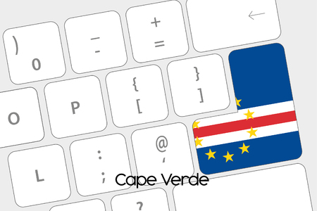 verde: Illustration of a Keyboard with the Enter button being the Flag of Cape Verde