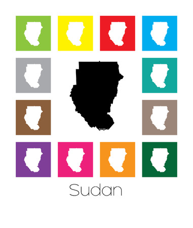 multicoloured: Multicoloured Map of the country of  Sudan