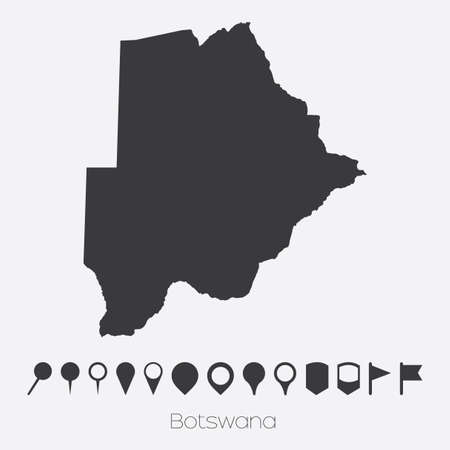 botswana: A Map with pointers of the country of Botswana Stock Photo