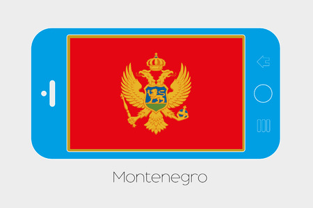 Mobile Phone Illustration with the Flag of Montenegro Stock Photo