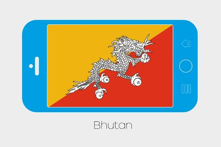bhutan: Mobile Phone Illustration with the Flag of Bhutan Stock Photo
