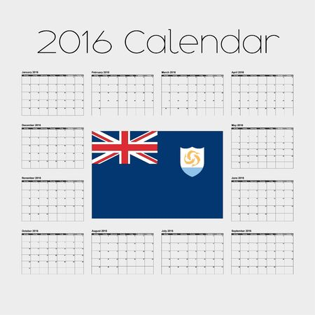 anguilla: A 2016 Calendar with the Flag of Anguilla Stock Photo