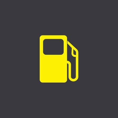 surtidor de gasolina: Un icono amarillo aislado en un fondo gris, la bomba de gasolina
