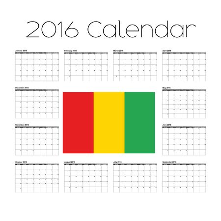 agenda year planner: A 2016 Calendar with the Flag of Guinea Stock Photo