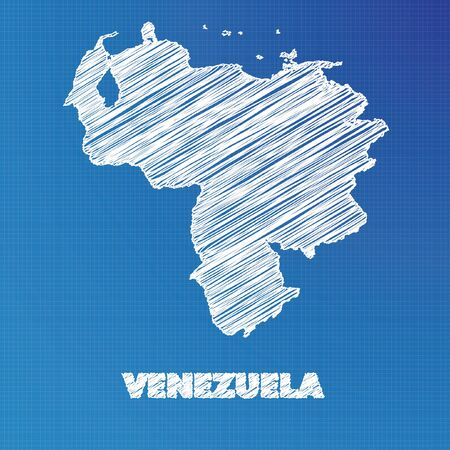 A Blueprint map of the country of Venezuela
