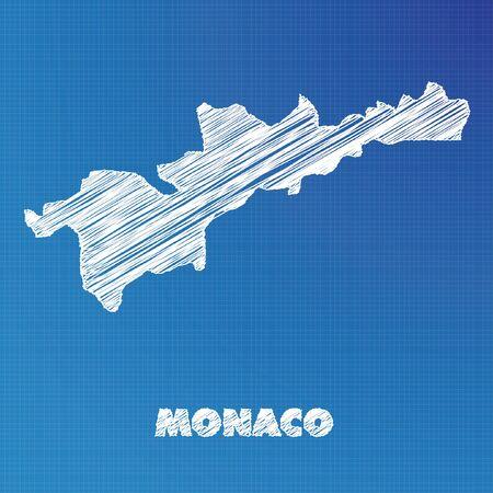 monaco: A Blueprint map of the country of Monaco