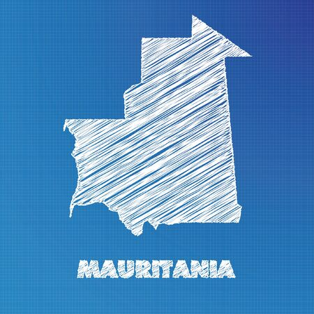 mauritania: A Blueprint map of the country of Mauritania