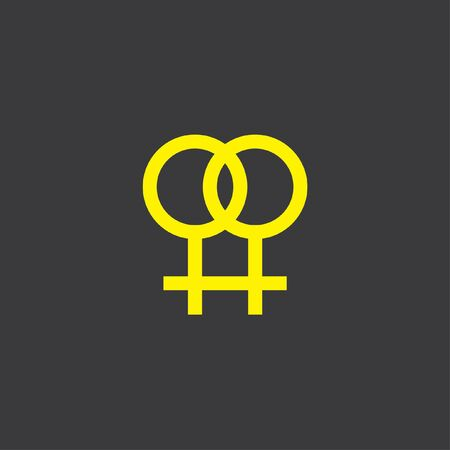 lesbian: A Yellow Icon Isolated on a Grey Background Lesbian Stock Photo