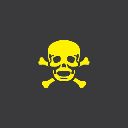 cross bones: A Yellow Icon Isolated on a Grey Background, Skull and Cross Bones Stock Photo