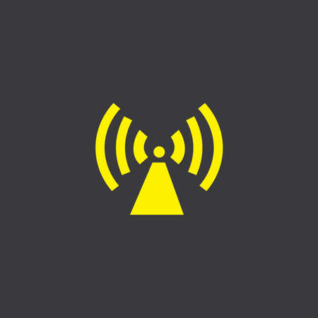 radio tower: A Yellow Icon Isolated on a Grey Background, Radio Tower