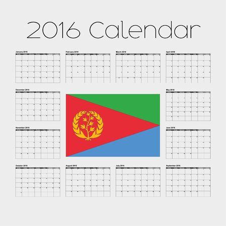eritrea: A 2016 Calendar with the Flag of Eritrea