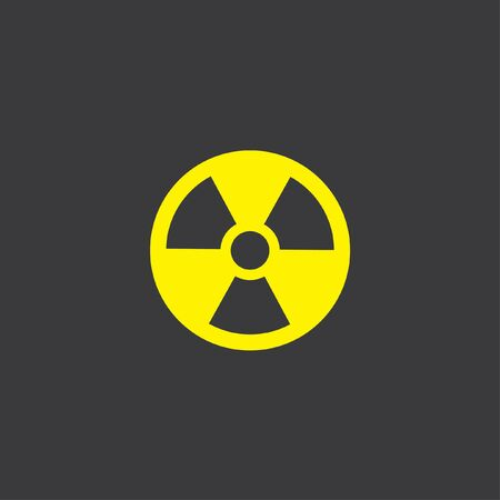 radioactive sign: A Yellow Icon Isolated on a Grey Background, Radioactive sign Stock Photo