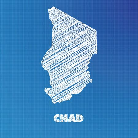 A Blueprint map of the country of Chad Stock Photo