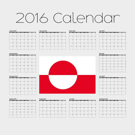 greenland: A 2016 Calendar with the Flag of Greenland Stock Photo