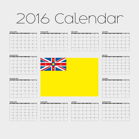 niue: A 2016 Calendar with the Flag of Niue Stock Photo
