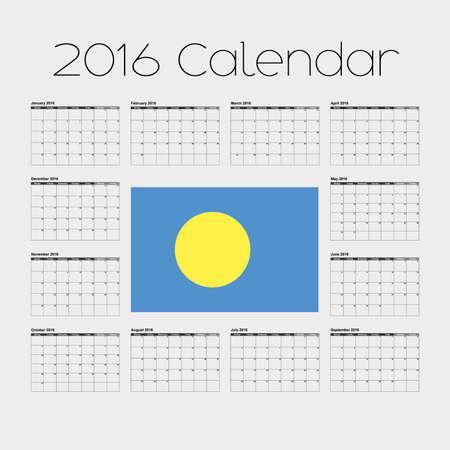 palau: A 2016 Calendar with the Flag of Palau Stock Photo