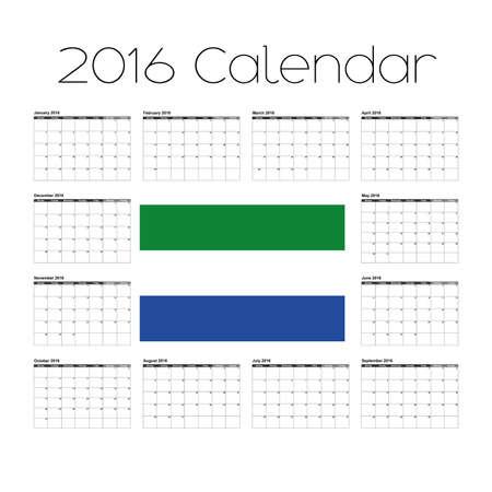 agenda year planner: A 2016 Calendar with the Flag of Sierra Leone