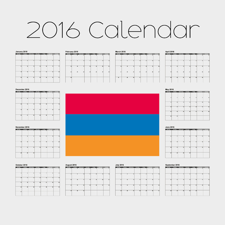 A 2016 Calendar with the Flag of Armenia