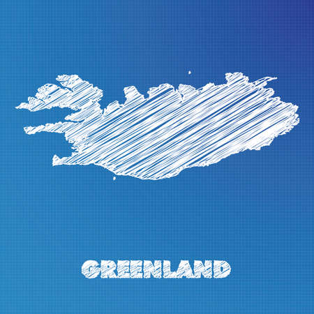 greenland: A Blueprint map of the country of Greenland