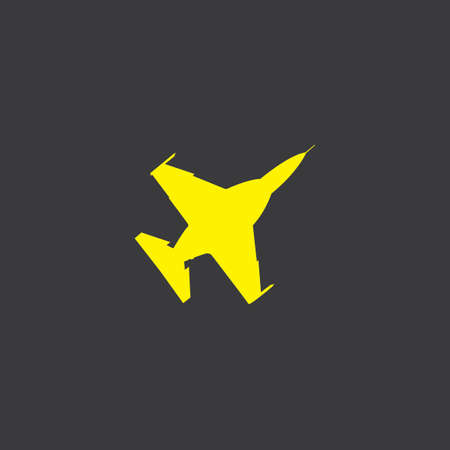 fighter jet: A Yellow Icon Isolated on a Grey Background, Fighter Jet