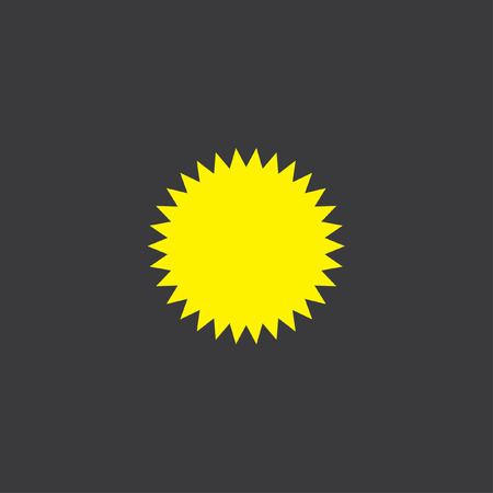 spikey: A Yellow Icon Isolated on a Grey Background, Spikey Circle