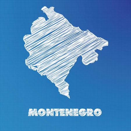 montenegro: A Blueprint map of the country of Montenegro