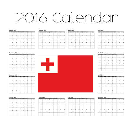 agenda year planner: A 2016 Calendar with the Flag of Tonga