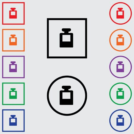 inkpot: Illustrations of Multiple Coloured Square and Round Icons Isolated on a Grey Background - Ink Pot