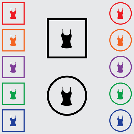 vest top: Illustrations of Multiple Coloured Square and Round Icons Isolated on a Grey Background - Vest Top Stock Photo