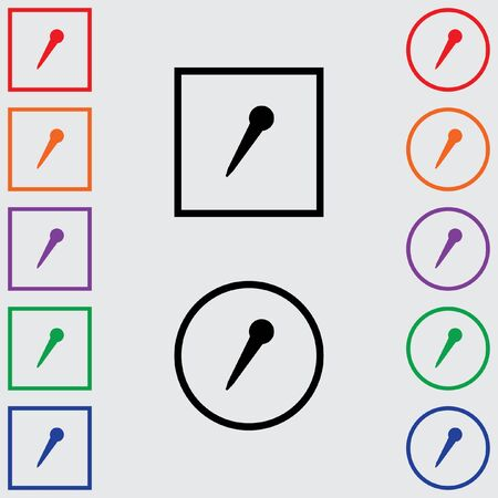 pointed to: Illustrations of Multiple Coloured Square and Round Icons Isolated on a Grey Background - Pointed Microphone