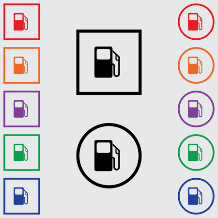 bomba gasolina: Illustrations of Multiple Coloured Square and Round Icons Isolated on a Grey Background - Petrol Pump