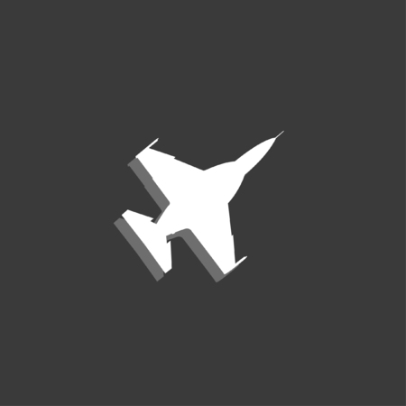 fighter jet: An Icon Isolated on a Grey Background - Fighter Jet