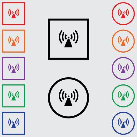 radio tower: Illustrations of Multiple Coloured Square and Round Icons Isolated on a Grey Background - Radio Tower